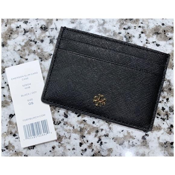 1431cc4515d5c Tory Burch Emerson Slim Card Case Black NWT